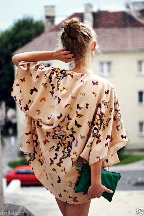 TOPSHOP Premium Butterfly Print Vtg Waterfall Kimono Jacket Top 12 14 40 US8 M | eBay