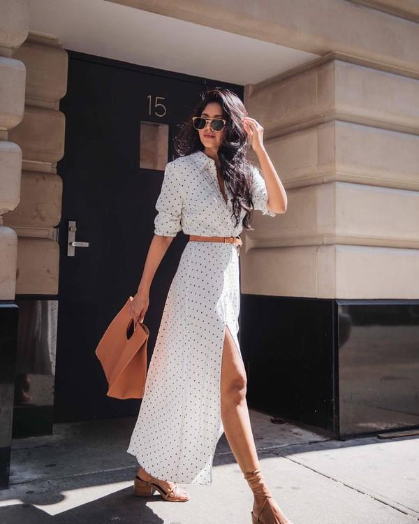 124e525b3dd dress polka dots side split mid heel sandals maxi dress bag belt sunglasses.