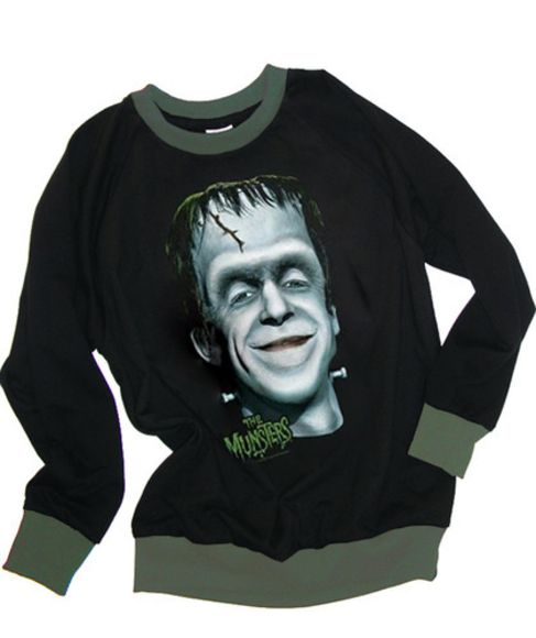 sweater black wool the munsters fred gwynne herman frankenstein halloween funny spooky fun monster 60s retro green trimming fleece top shirt fall autumn