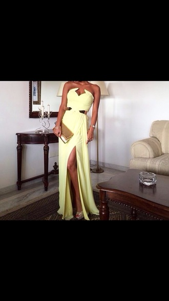 dress strapless yellow dress