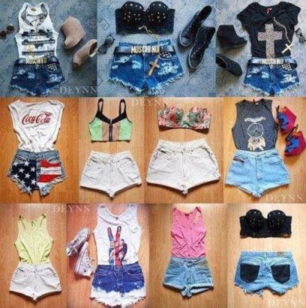 jeans coca cola shorts bustier moschino