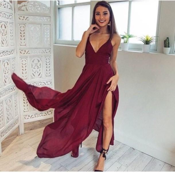 dress, burgundy, maroon/burgundy, prom dress, formal dress, floor ...