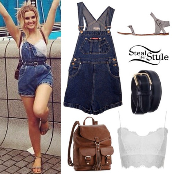 jumpsuit perrie edwards little mix bag belt shoes denim overalls
