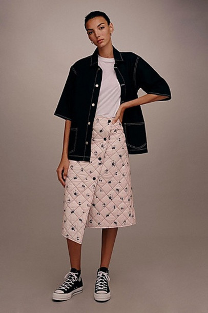 TopShop *Floral Quilted Skirt by Boutique - Pale Pink
