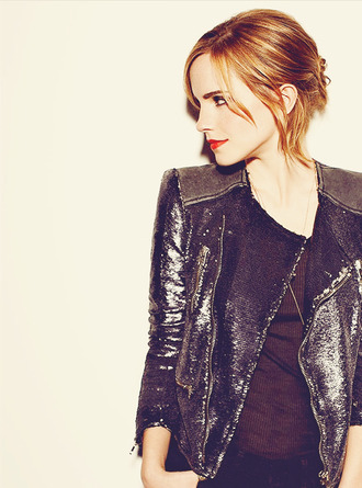 jacket leather jacket emma watson