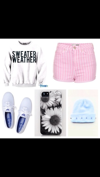 hat pink stripes shorts high waisted shorts vertical stripes keds light blue sweater weather crewneck graphic sweater studs beanie sweater shoes