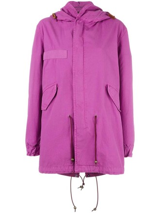 coat women cotton purple pink