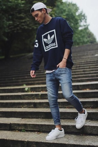 sweater adidas clothes tumblr clothes skinny jeans dope casquette sweatshirt cap white shoes shoes ralph lauren blouse adidas shoes adidas superstars jeans ripped jeans outfit