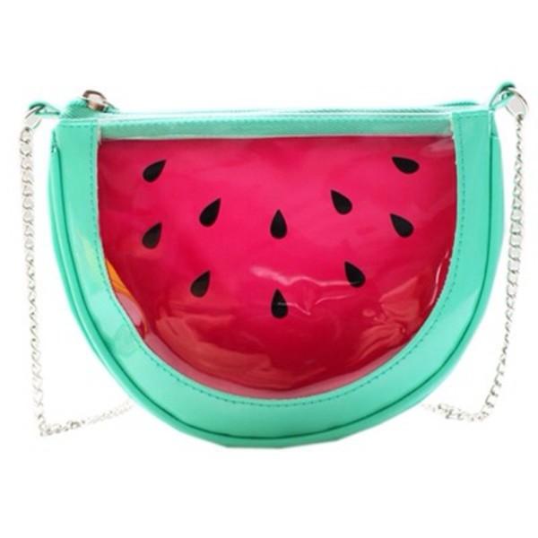 bag watermelon print kawaii japan gyaru soft grunge hipster chain transparent green tropical california fruits fashion red cool teenagers it girl shop