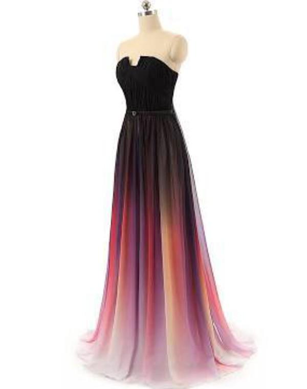 dress pink black white elie saab long dress prom dress sleeveless orange sunset beautiful lily collins dress ombre dress gown