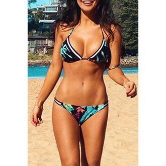 swimwear bikini tan fashion style cool cute green black rose wholesale-ma