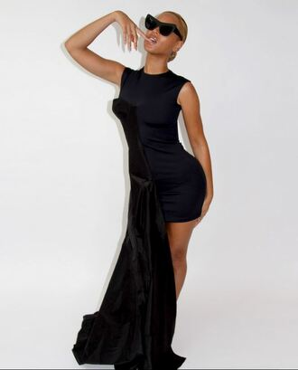dress beyonce black dress high-low dresses high low sunglasses red lime sunday