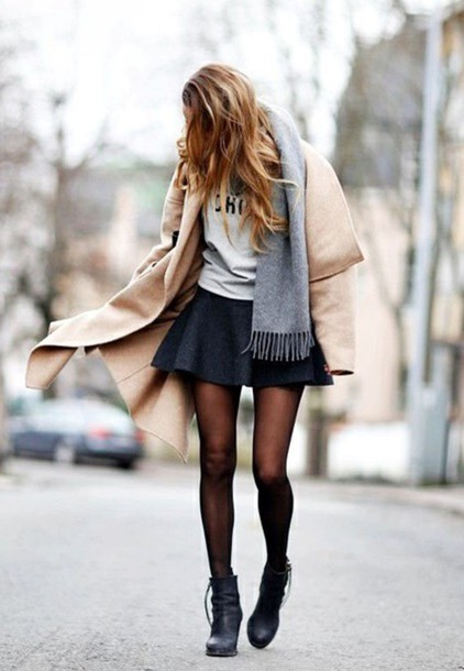 scarf grey camel coat