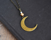 jewels,moon,necklace,bohemian,crescent moon,moon phases