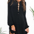 Black Puff Sleeve Informal Lacing Lace Up Dress -SheIn(Sheinside)