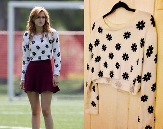 sweater cute skater skirt pretty bella thorne black and white cropped sweater daisy
