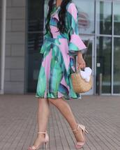 dress,tumblr,bell sleeves,bell sleeve dress,sandals,sandal heels,high heel sandals,bag,woven bag,midi dress,shoes