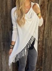 sweater,girly,white,fringes,fringe sweater