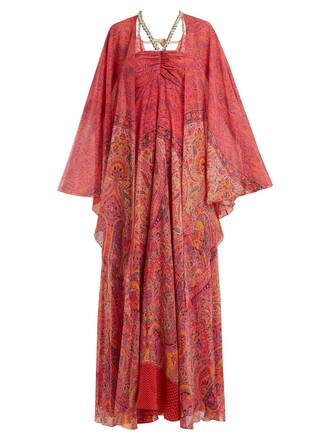 gown embellished print silk paisley pink dress