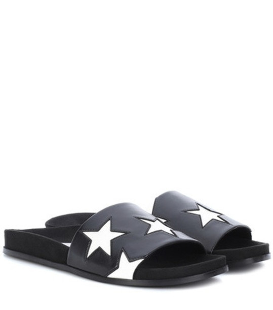 Stella McCartney Faux leather star slides in black