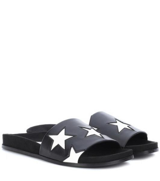 Stella McCartney Faux leather star slides in black