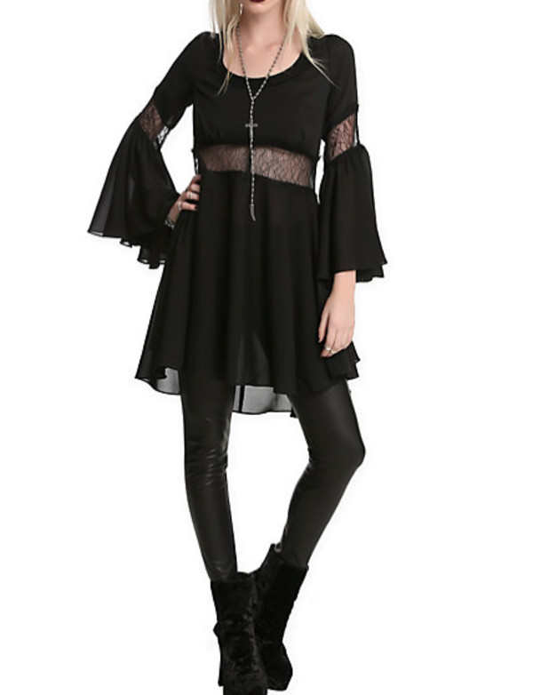 dark cut-out cut bell sleeves goth goth nu goth grunge