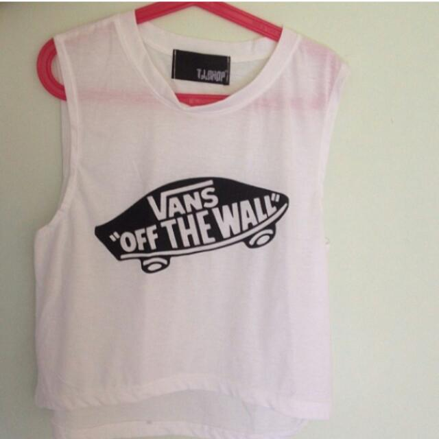 Vans off the wall crop muscle tank top