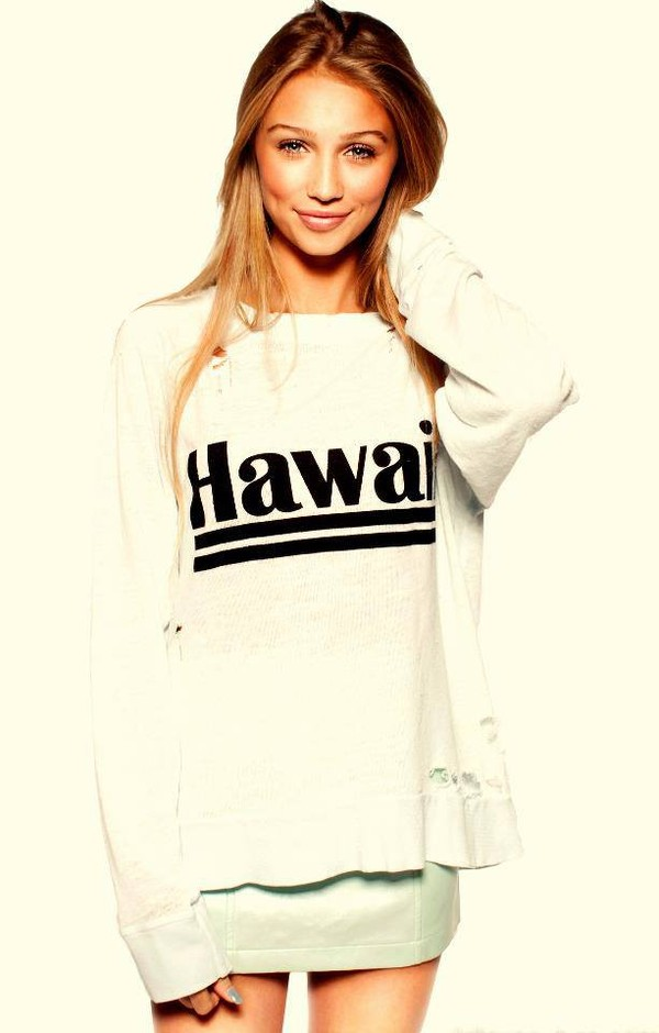 sweater hipster shirt hawai white cute summer night hot like blonde hair pretty vintage