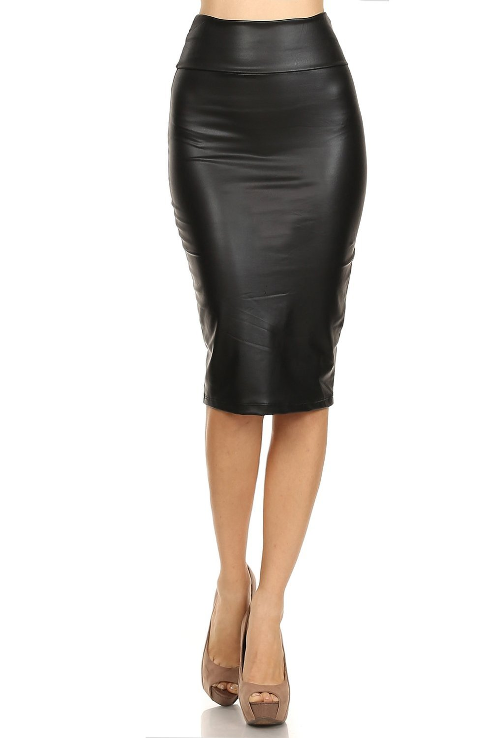 s high waisted versatile faux leather midi pencil