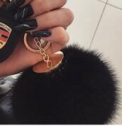 home accessory,black puff keychain,keychain