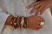 jewels,stacked bracelets,ring,necklace,brown,leather,beaded,gold,vans warped tour