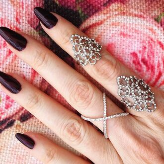 jewels jewelry silver silver ring knuckle ring ring rings and tings crystal bling accessories