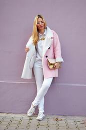 ag on i ya,blogger,shearling jacket,pink coat,coat,pants,shoes,bag