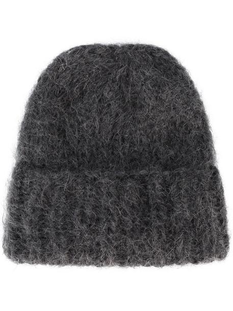 thick mohair beanie grey hat