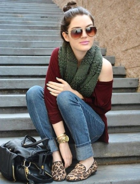 shoes leopard print loafers flats burgundy red sweater black purse outfit bag sunglasses smoking slippers scarf shirt top blouse jewelry bracelets gold bracelet