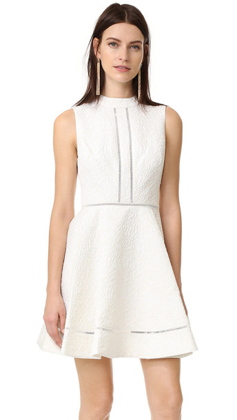 Cynthia Rowley Textured Jacquard Fit And Flare Mock Neck Dress - Ivory