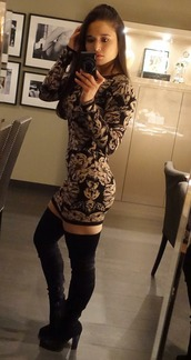 dress,black,black dress,black and white dress,black velvet,thigh high boots,bodycon dress,little black dress,party dress,floral dress,floral,black and white,white,velvet,velvet dress,velvet boots,black velvet boots,party