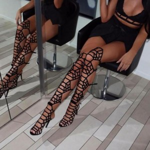 Black Gladiator Heels Strappy Over-the-knee Stiletto Heels Sandals