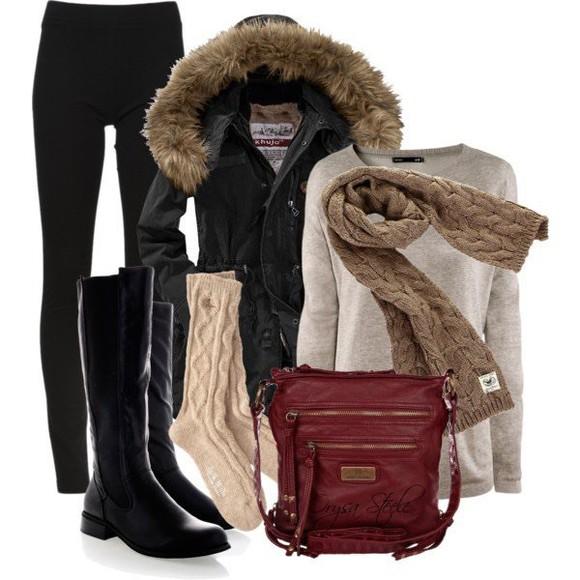 jacket jumper bag boots black boots scarf socks