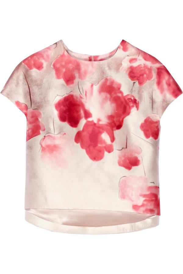 top floral-print wool and silk-blend shantung top lela rose silk