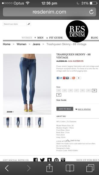 jeans res denim 88 vintage size 27 cotton/elastane jeggings