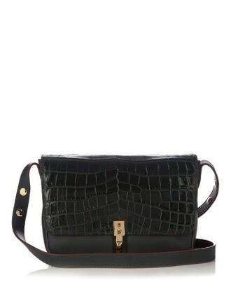 bag shoulder bag leather crocodile dark green