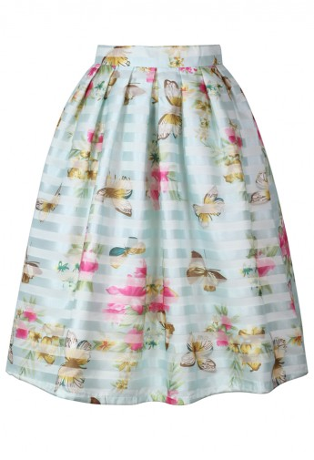 Spring Cruise Butterfly and Flower Midi Skirt - Retro, Indie and Unique Fashion