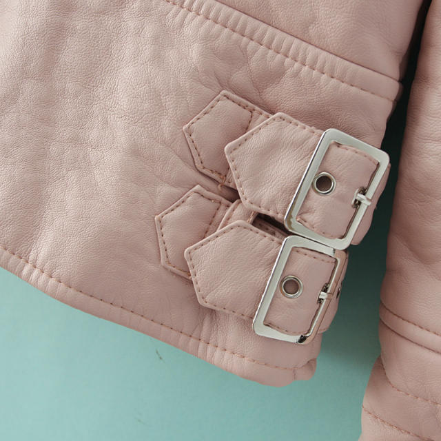 Pink Long Sleeve Zipper Crop PU Leather Jacket - Sheinside.com