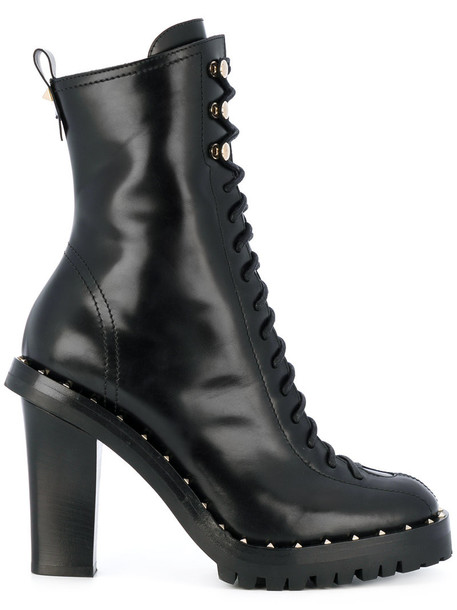 Valentino women leather black shoes
