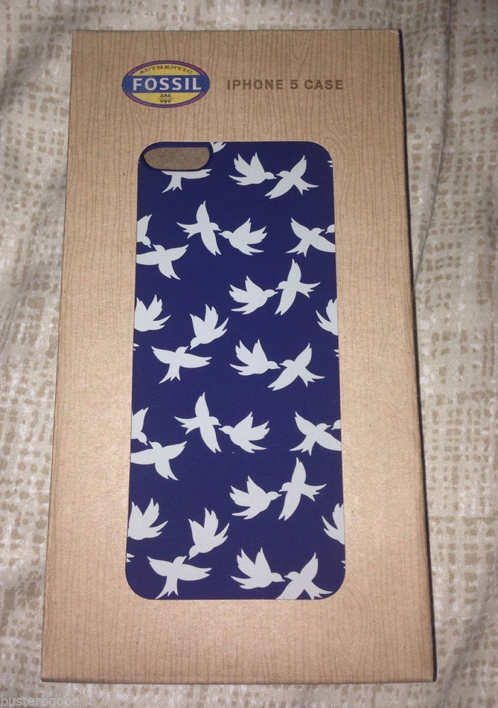 Fossil iPhone 5 Phone Case Key per Multi Navy Blue Bird Design | eBay