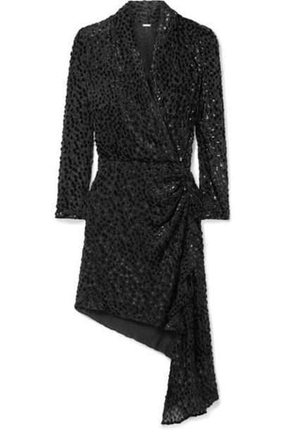 Dodo Bar Or - Ava Draped Flocked Chiffon Mini Dress - Black