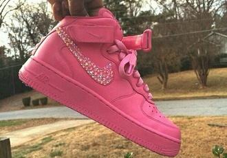 shoes custom shoes pink nike air force 1 nike air force 1 high top nike diamonds luxury