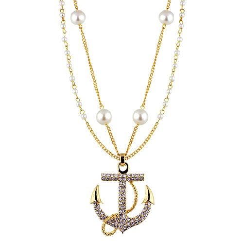 Navy Style Luxury Bead Rhinestone Anchor Pendant Bi-layer Necklace [grxjy5100209] on Luulla