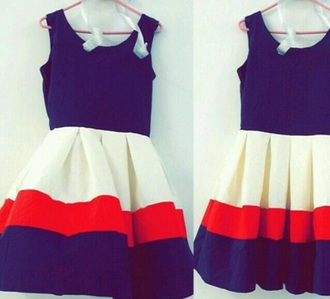 dress blue pink white short dress